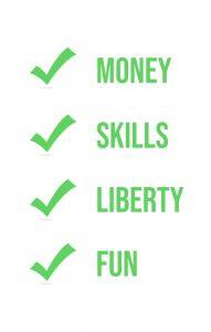 Perks of Freelancing by GoDesign.pk Money, Skills, Liberty Fun Ticks