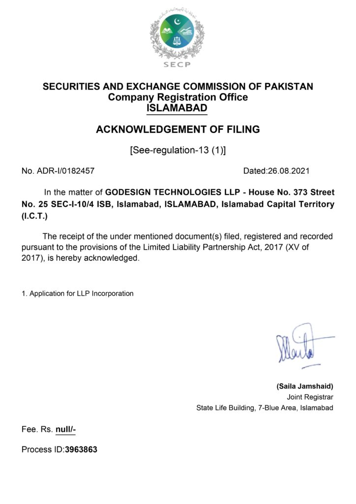 Aknowledgement of Filing